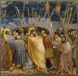 Giotto (Scenes from the Life of Christ - Kiss of Judas, 1304-06) Arena Chapel, Padua